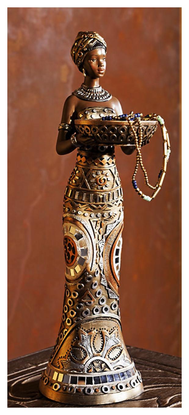 Deko Figur Zola Afrikanische Frau Afrika handbemalt aus Kunststein 31cm Hoch