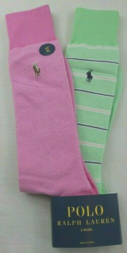 Polo Ralph Lauren Men's Dress Socks 2 Pack XL Pink Green Herringbone New MSRP$20