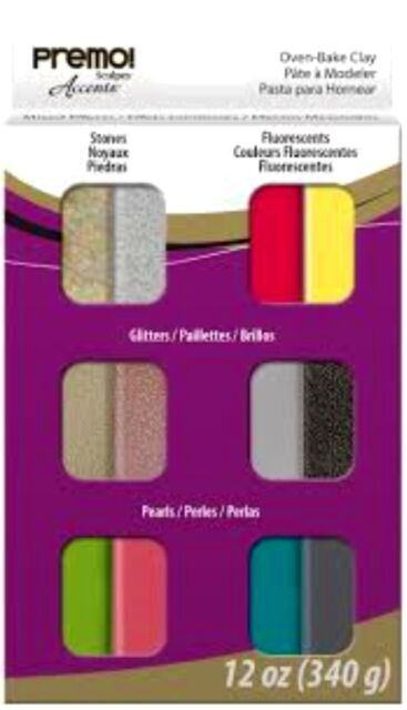 Sculpey PREMO - Oven Bake Polymer Clay - 12 Sampler Pack - ACCENTS - Great Range