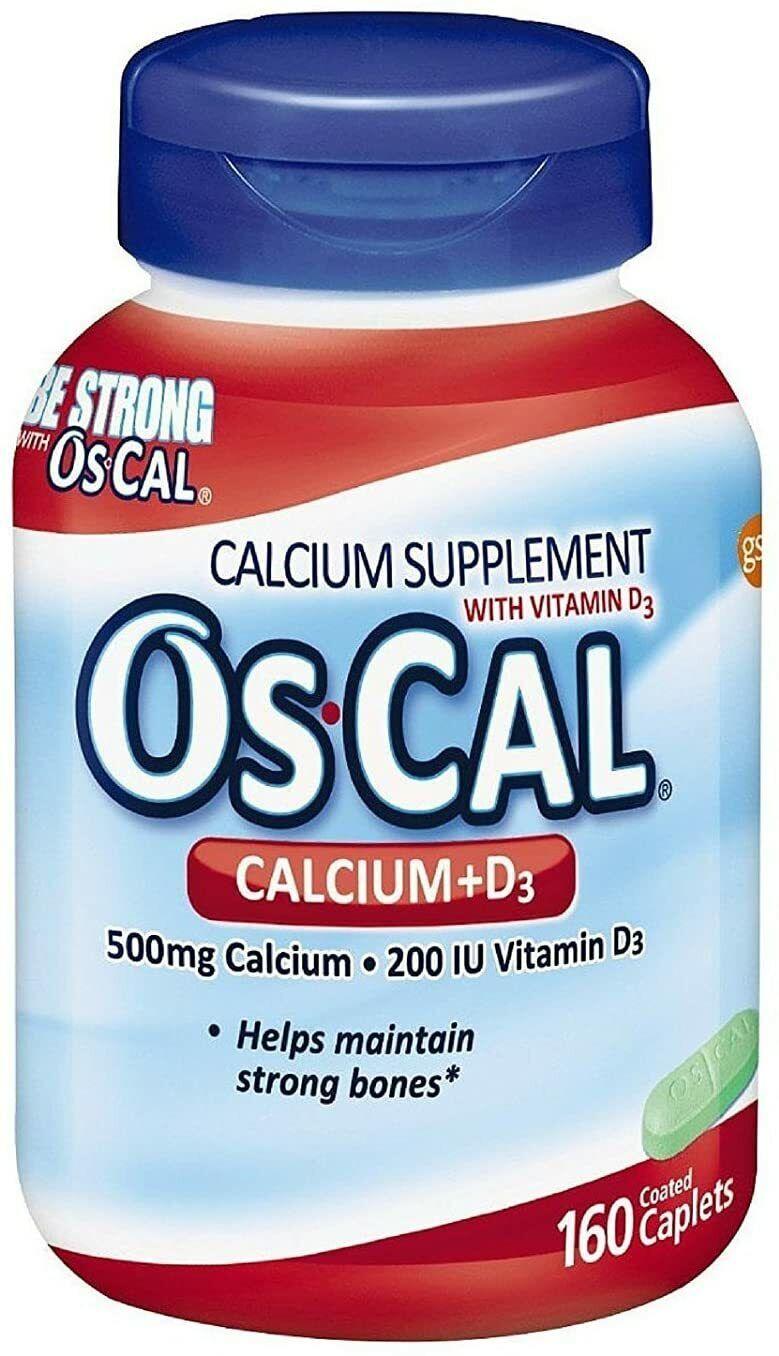Os-Cal 500 Plus Vitamin D Calcium Supplement Caplets (160 Ct) [EXP 05/22]