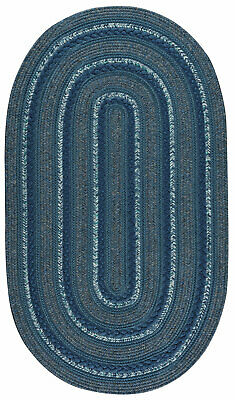 Capel Rugs Coastal Blue Platform Country Cottage Oval Patio Kitchen Braided Rug  (Capel Rugs Oval Rug)