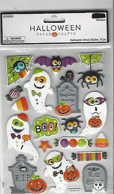 Halloween Paper Crafts HALLOWEEN GHOSTS puffy 3D Stickers RIP spider 5X6-1/2