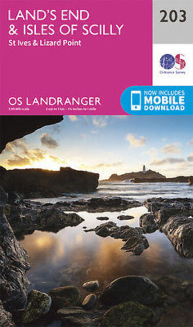 Land's End & Isles of Scilly St Ives Lizard Point Landranger Map 203 OS 2016