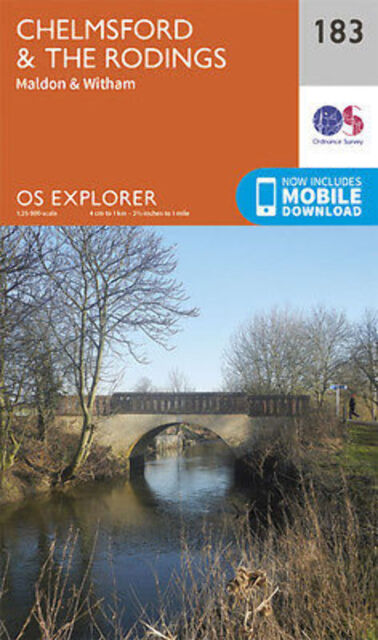 Chelmsford and the Rodings 183 Explorer Map Ordnance Survey 2015