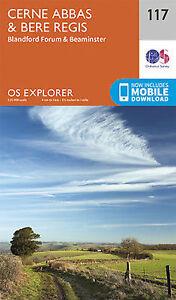 Cerne Abbas and Bere Regis Blandford For 117 Explorer Map Ordnance Survey 2015
