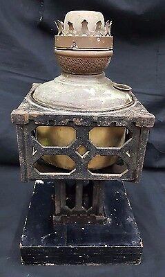 Antique Square Black Cast Iron Oil Lamp Base