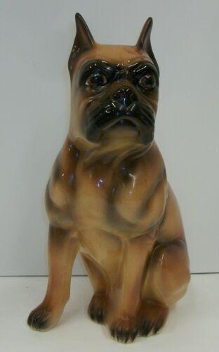 Large Vintage Ceramic Boxer Dog Figurine Statue