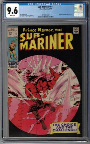 CGC 9.6 SUB-MARINER #11 WHITE PAGES BARRACUDA APP GENE COLAN COVER  1969 MARVEL