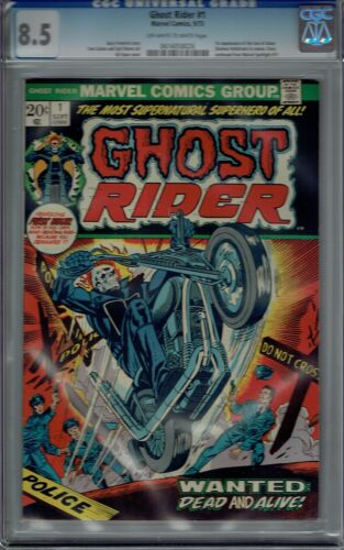 CGC 8.5 GHOST RIDER #1 1ST APPEARANCE SON OF SATAN DAIMON HELLSTROM 1973 OW/W