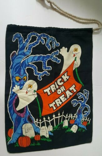Vintage Halloween Bag - Trick or Treat Drawstring Ghosts