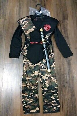 Camouflage Ninja Costume (Kids Hallows Eve Ninja Camouflage Costume With Dagger Size Small)