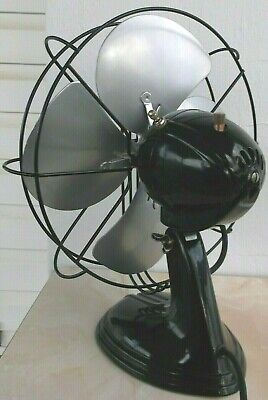 """ANTIQUE/VINTAGE/DECO 30's 12"""" 2 SP OSCILL. ELECTRIC FAN-PROFESSIONALLY RESTORED"""