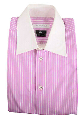 Versace NWT Dress Shirt Sz 15.75 40 Light Purple W/ White Stripes & White Collar