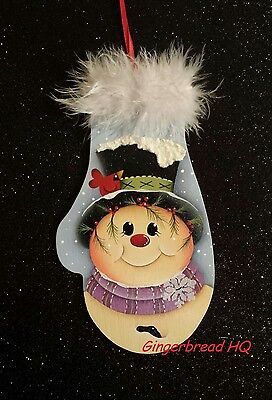 HP Snowman  wooly winter mittens wooden christmas  ornament hand painted