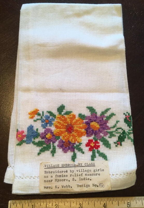 India  Hand Embroidery Sample On Linen Cloth Towel Antique