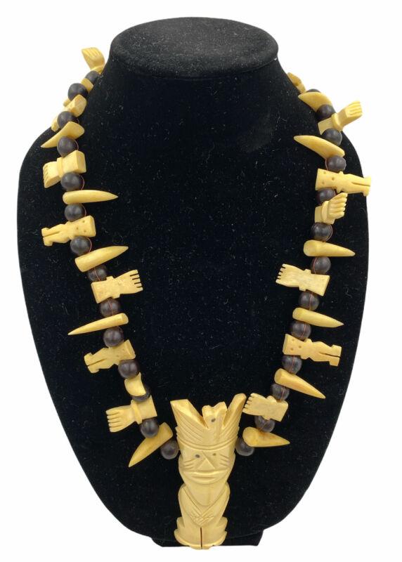 Vtg Primitive African Native Indigenous Style Plastic Beaded Acrylic Necklace