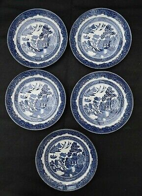 5 x Johnson Brothers - Blue & White Willow Pattern Saucers