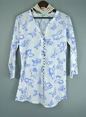 - Lotty B Mustique Tunic Beach Cover up S White/Blue Butterfly Cotton # 227