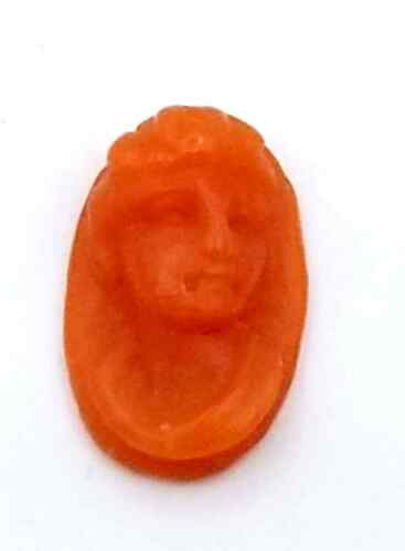 NOS New Antique Vintage Oval Small DECO CORAL Cameo Stone 10 mm x 6.5 mm