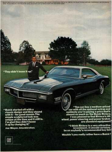 1968 BUICK Riviera Black Coupe Joe Meyer Vintage Print Ad