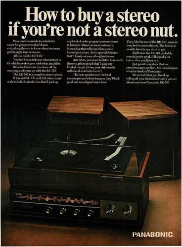 1967 PANASONIC RE-767 Stereo System Radio Phonograph Vintage Print Ad