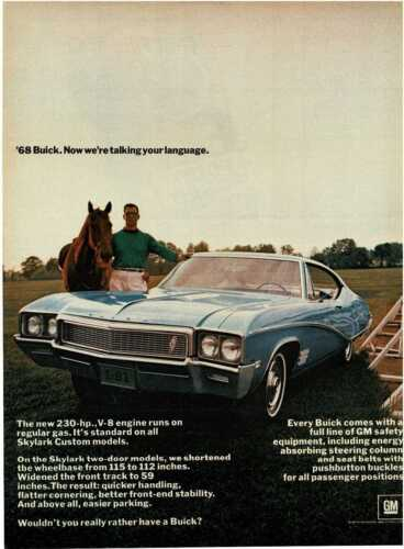 1968 BUICK Skylark Light Blue Coupe horse Vintage Print Ad