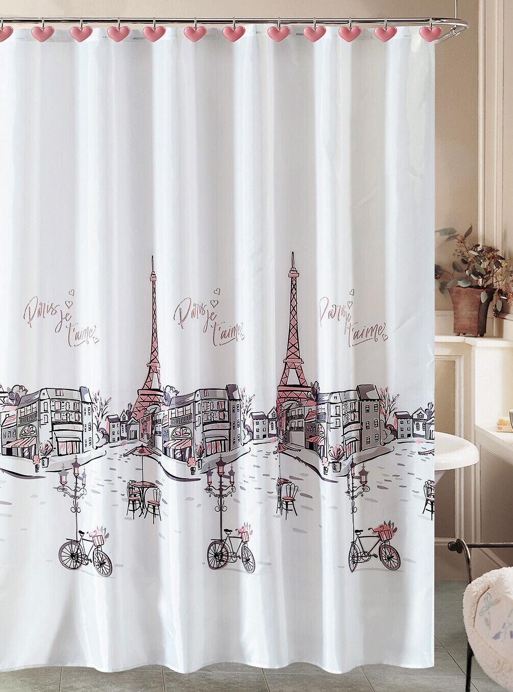 Paris Shower Curtain & 12 Resin Hooks Bathroom Set Eiffel Tower French Grey Pink Bath