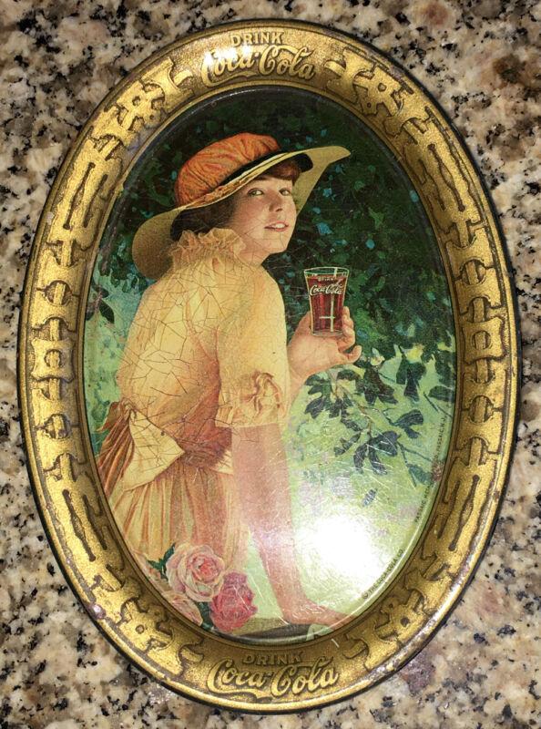 Advertising Original Coke Coca Cola Vintage Oval Tip Tray Soda Pop Bottle