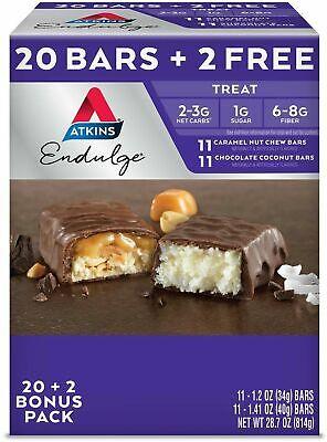Atkins Endulge Treat Low carb Snack Bar Variety Pack (20 + 2 Bonus (Low Carb Snack Bars)