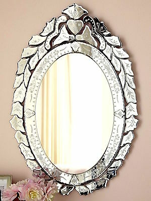 French Antique Horchow Neiman Ernhart Oval Venetian Glass Mirror Bath Vanity