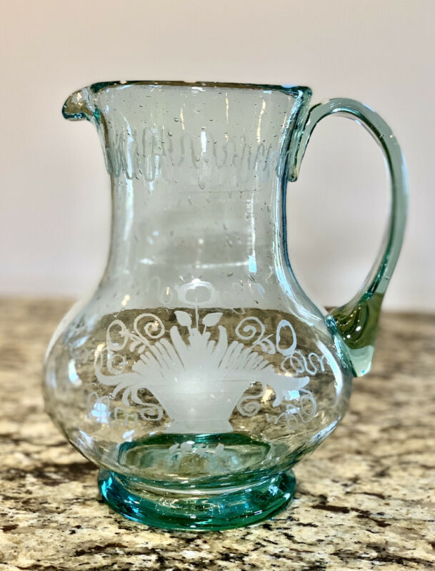 Artisan Crafted Hand Blown Recycled Glass Pitcher Etched Design