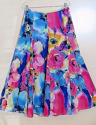 NWT Anne Klein Neo Graphic 100% Silk Lined Full Maxi Skirt Size 8 MSRP $250