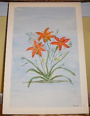FOLK ART PRIMITIVE NAIVE ORANGE TIGER LILY FLOWERS VINTAGE WATERCOLOR PAINTING