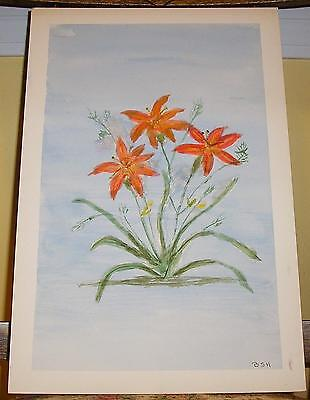 FOLK ART PRIMITIVE NAIVE ORANGE TIGER LILY FLOWERS VINTAGE WATERCOLOR PAINTING