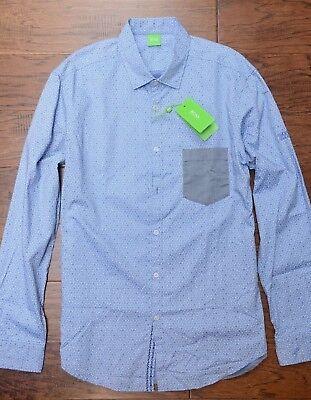 a15d46e32 Hugo Boss Green $205 Men's Badone Blue Hexagon Print Cotton Casual Shirt  New XL