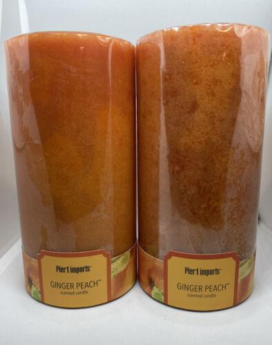 PIER 1 One Imports Ginger Peach Scented Peach 3 x 6 Pillar C