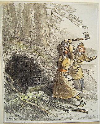 Jagd Jägerin erschlägt Bär Amazone Bärenjagd  altkolorierte Lithographie 1840