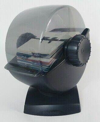 Vintage Rolodex Covered Rotary Business Card Desk File Divider Holder 2 14 X 4