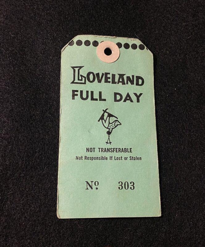 LOVELAND Vintage Skiing Ski Pass Lift Ticket COLORADO 1960s Travel Souvenir