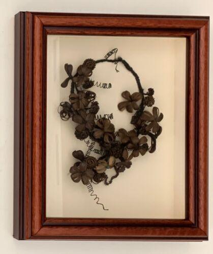 Antique Victorian Memorial / Friendship Woven Mourning Hair Wreath