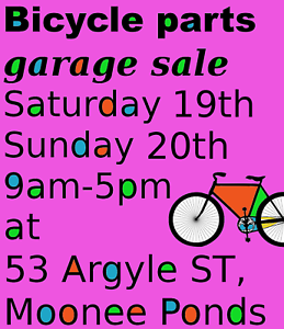 Bicycle parts garage sale: bikes, wheels, tyres, components...