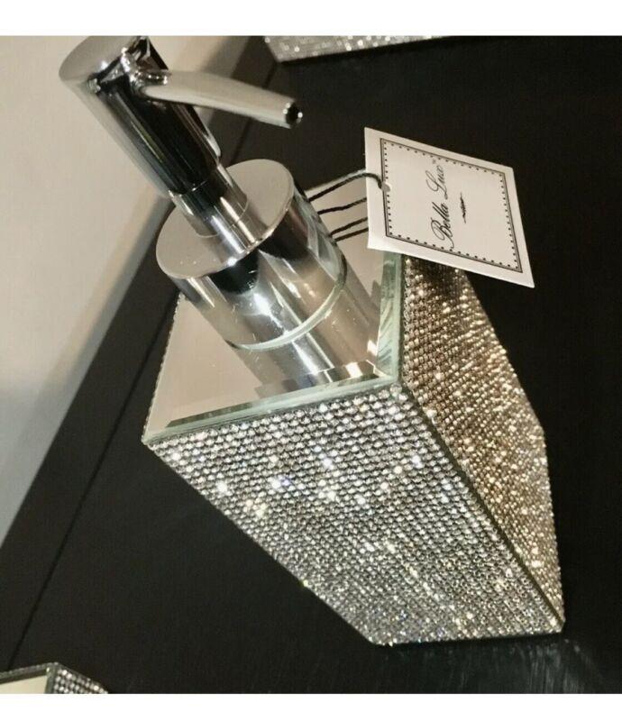 Bella Lux Full Crystal Rhinestone Mirror SOAP DISPENSER Bathroom, New, Free Ship