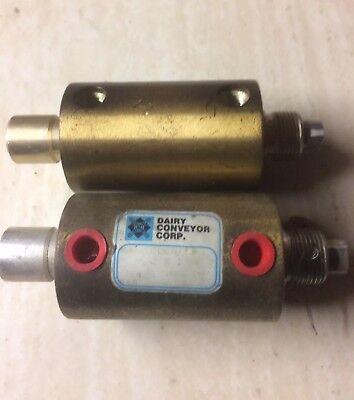 Lot Of 2 Dairy Conveyor Dca 2 X 1 Pneumatic Cylinders