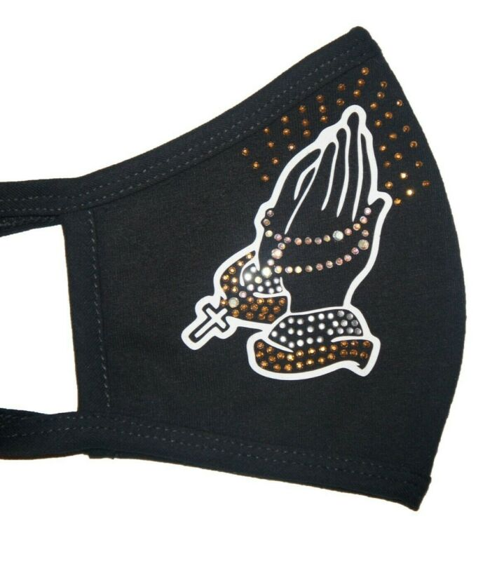 Face Mask Praying Hands Vinyl And Rhinestones Double Layer Cotton Black