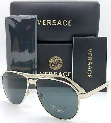 NEW Versace sunglasses VE2209 125287 58mm Pale Gold Grey AUTHENTIC Aviator Men's