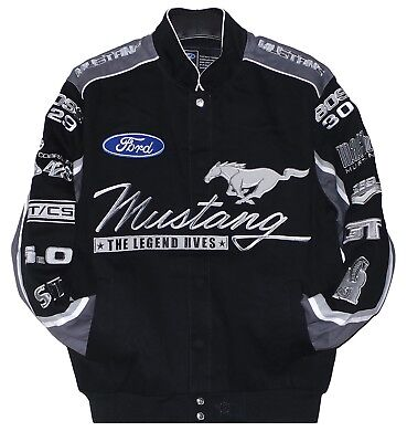 - Ford  Mustang  Jacket  Mens  Black Twill  Cotton Jacket by JH Design New