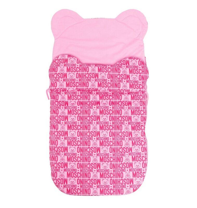 MOSCHINO LOGO PRINT PINK BABY SLEEPING BAG BUNTING BABY NEST NWT