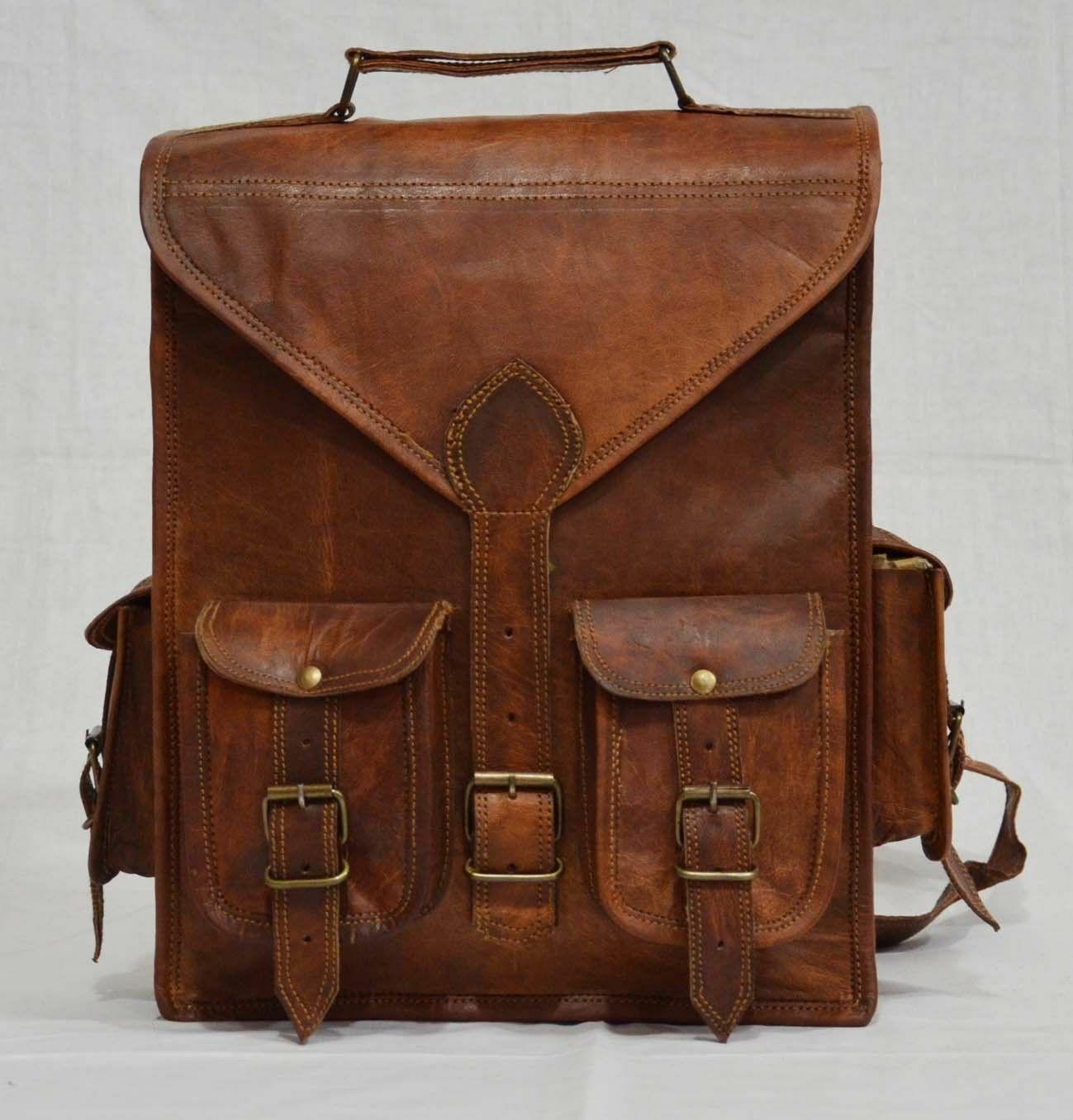 New Laptop Leather Backpack Rucksack Messenger Bag Satchel F
