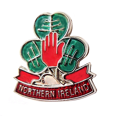 Northern Ireland Shamrock and Red Hand Flag Pin Badge