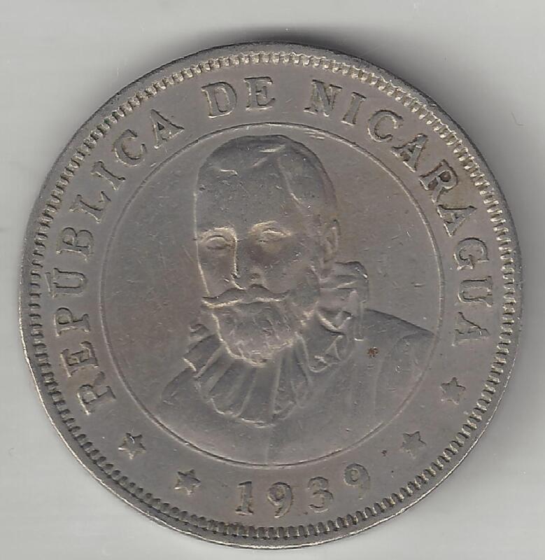 NICARAGUA,    1939,    50 CENTAVOS,     KM#19.1,    CHOICE EXTRA FINE.